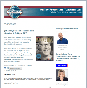 Online Presenters workshops page