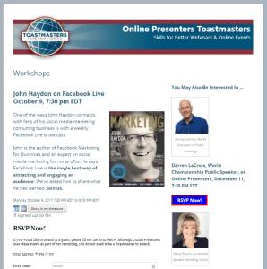 Online Presenters workshops page